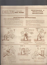 Delta Single Handle Ball Faucet Maintenance & Installation Instructions 1970s