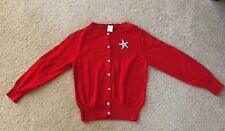 Crewcuts Girls EUC X-large 8-9 Red starfish cardigan sweater Beach/Ocean !!