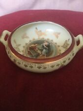 Pretty German Small Porcelain Bowl With Classical Plaque After Luca Giordano