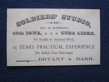 Business Card, Soldiers' (Photographic) Studio, 50th Iowa Infantry.