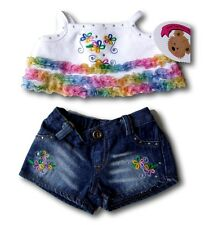 Teddy Bears Clothes fit Build a Bear Teddies Frilly Rainbow Top & Denim Shorts