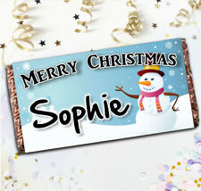 Personalised Snowman Merry Christmas Chocolate Bar N50 Kids Stocking Filler