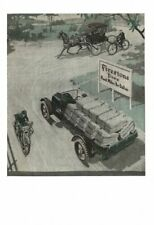 VINTAGE 1918 FIRESTONE TIRES STAGECOACH MOTOR CYCLE TRUCK HAULING HAY AD PRINT