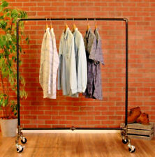 "Industrial Pipe Rolling Clothing Rack by William Robert's Vintage - 60"" Wide"