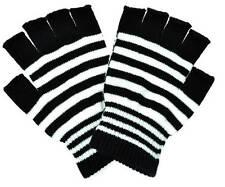 Poizen Industries Punk Goth Gothic Grunge Fingerless Gloves Black White Stripe