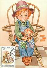 Postcard Drawn children young girl dog chair costume hat stamp Romania italy
