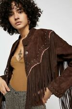 Free People Western Fringe Studded Jacket $700 NWT XS Brown