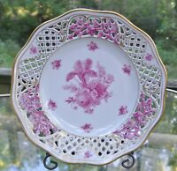 Vtg Schumann Bavaria Germany Reticulated Plate Pierced with Pink Flowers