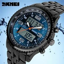 Skmei Mens Large Dual Analogue Digital Time Display Watch Alarm Stopwatch UK