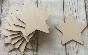 set of 10 laser cut wooden stars unpainted, fab for christmas decorations tags