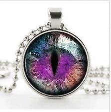 Silver Fantasy Photo Dragon Cat Eye Necklace Pendant - Purple ColorArt Jewellery