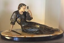 "ART DECO POLYCHROME PAINTED BRONZE FEMALE VIOLINIST- ""MANTEL SIZE"""