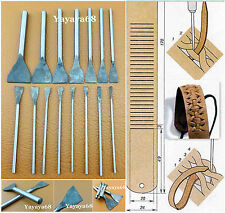 15 Size Leather Craft Slotted Straight Flat Tip Punch Cut Chisels Tool Kit Set