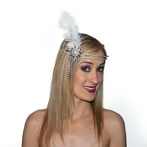 Flapper Headband Double Rhinestone Band W/ Jeweled Flower Ornament & Feather