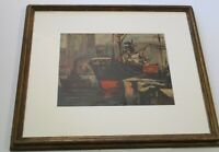OLD INDUSTRIAL HARBOR PAINTING NAUTICAL SHIPS BOATS QUEBEC CANADA REGIONALISM