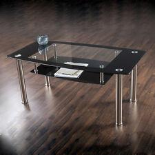 Black Glass Coffee Table Metal Chrome Legs With Shelf for Living Room - 110cm