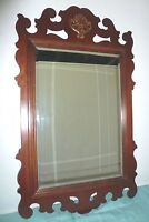 WALL  MIRROR CHIPPENDALE  - BEVELED GLASS - MAHOGANY FRAME