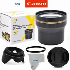 58MM 3.7X  TELEPHOTO + UV FILTER+HOOD+ CAP FOR CANON REBEL  T1 T2 XT XSI T3 7D