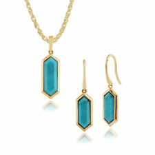 Gold Plated Silver Turquoise Hexagonal Prism Drop Earring & 45cm Necklace Set