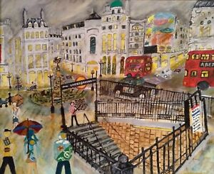 Poster. Piccadilly, London, Antique, original artwork, oil painting, Gift.
