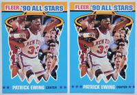 1990-91 FLEER BASKETBALL Patrick Ewing 2x All-Stars Sticker Card Lot NM Knicks