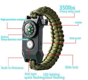 Emergency LED Light Paracord Survival Bracelet Compass Fire Starter Whistle Kit