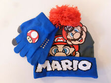 Super Mario Nintendo 2pc Youth Kids Beanie Winter Hat & Glove Set New