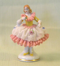 ANTIQUE DRESDEN PORCELAIN Figurine Lady in Ruffled Dress with Rose, German