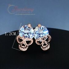 Gold Plated Skull Head with Cubic Zirconia Stud Earrings E241