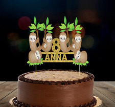 SLOTH PERSONALISED CAKE TOPPER/BANNER  CAKE DECORATION ANY NAME AND AGE ADDED