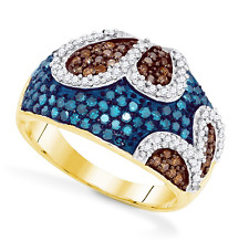 10K Yellow Gold Blue, Chocolate Brown & White Diamond Cluster Ring 1.0ct
