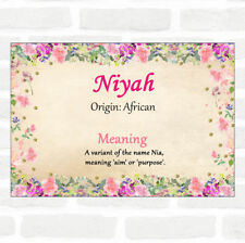 Niyah Name Meaning Floral Certificate