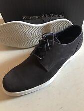 New $575 Ermenegildo Zegna Suede Shoes Derby Liscio DK Brown 10 US ( 43 Eu )Ita