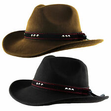 Adult Wool Cowboy Trilby Hat Faux Leather Stud Band Satin Lined Western Aussie
