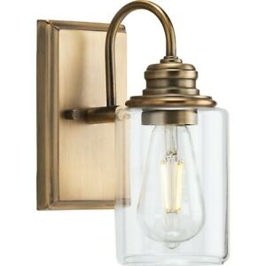 Progress Lighting Aiken 1 Light Vintage Wall Light, Brass/Clear - P300320-163