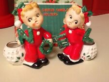 Vintage Christmas NOEL Cherub Candle Holders Original Box Make Make Decent Offer