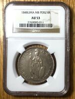 1848 Peru 4 reales graded NGC AU53 pcgs silver Sole example NGC census TOP POP