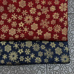 Snowflake Bronzing Fabric Christmas Cotton Linen Patchwork Clothing Sewing DIY