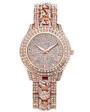 Rosegold Luxus Damenuhr Armbanduhr mit Strass Metall Uhrband Analog Quarzuhr