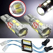 2 Lampade T10 LED 10 SMD HID Canbus 5630 BIANCO W5 No Errore CDB + 2 RESISTENZE