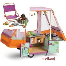 American Girl POP UP ADVENTURE CAMPER + CAMPFIRE Chair smores SET Ships TODAY