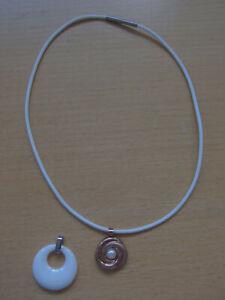 Halskette Boccia Kautschuk weiß mit 2 Wechselanhängern Titanium