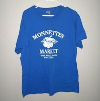 MONNETTE'S MARKET lrg T shirt Independent Grocery blue tee Produce Market deli