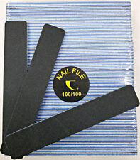 """50pc Nail File Black Jumbo 100/100 Grit Square Shape 7x1"""" Plastic Sanding File"""