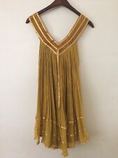 Vintage 70s Hippie Boho Cotton Gauze Crochet Mexican / India Mini Dress / Tunic