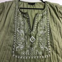 Mystic Aura Women's Peasant Blouse Top 2X Plus Green White Embroidered Boho