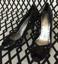 "BCBG ""Library"" Peep Toe Black Patent Heels Pinup Career Work Party 10 R nwob"