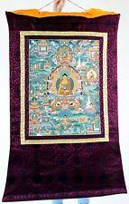 HERRLICHE THANGKA DES BUDDHA SHAKYAMUNI BROKATRAHMEN HANDGEMALT BUDDHISMUS NEPAL