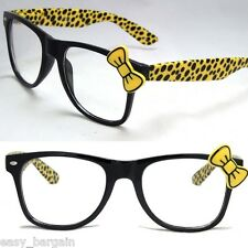 Yellow Wayfarer Clear Lens Polka Dot Sunglasses Bow Bowknot Hello Kitty Nerd