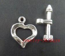 30sets Tibetan Silver Little Heart Toggle Clasps 16x12.5mm 1109